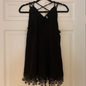 FREE PEOPLE black strappy & lacy tank top